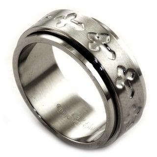 James Cavolini Stainless Steel Spinner Cross Men's Band Religious Ring