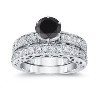 Auriya 14k White Gold 1 1/2ct TDW Round Black Diamond Bridal Set (Black, SI2-SI3)
