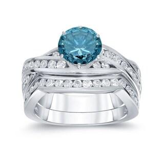 Auriya 14k White Gold 2ct TDW Round Blue Diamond Bridal Set (Black, SI2-SI3)