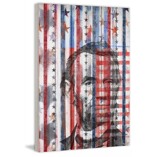 "Parvez Taj - ""Honest Abe"" Print on White Wood"