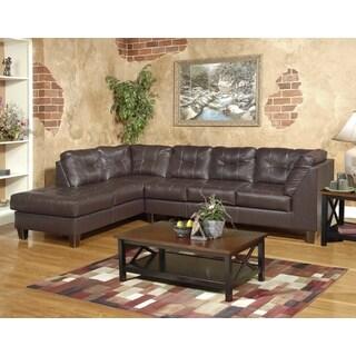 Marinio Chocolate Faux Leather Left Chaise Sectional Sofa
