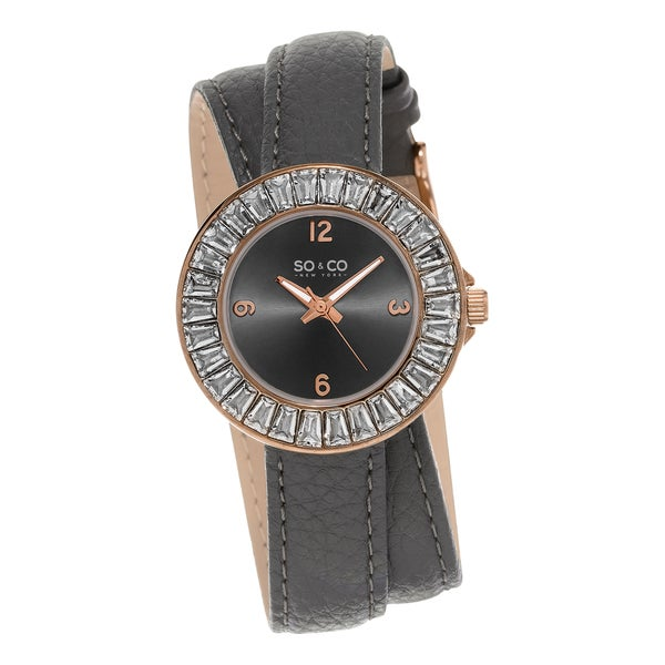 SO&CO New York Women's SoHo Quartz Grey Crystal Leather Strap Double Wrap Watch