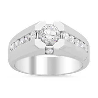 14k White Gold Men's 2 1/2ct TDW Certified Center Stone Diamond Ring (H, SI1-SI2)
