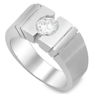 14k White Gold Men's 1ct TDW Bezel Diamond Ring (H, SI2)