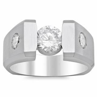14k White Gold Men's 1 1/4ct TDW Diamond Ring (H, SI2)