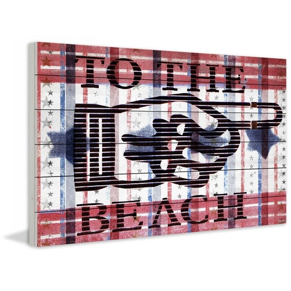 "Parvez Taj - ""Beach Pointer"" Print on White Wood"