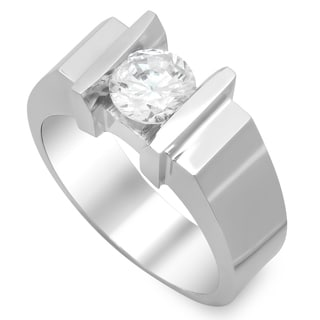 14k White Gold Men's 1ct TDW Channel Diamond Ring (H, SI2)