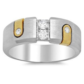 14k Two-tone Gold Men's 2/5ct TDW Diamond Ring (F, SI1)