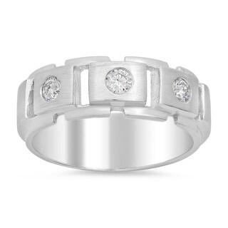 14k White Gold Men's 1/4ct TDW Diamond Ring (F-G, SI1)
