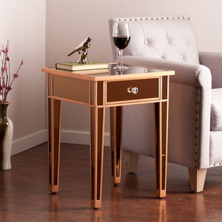 Upton Home Sutcliffe Bronze Colored Mirror Accent Table