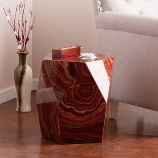 Upton Home Coffey Red Marble Faux Stone Accent Table