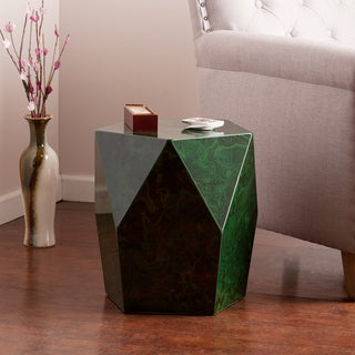 Upton Home Coffey Green Malachite Faux Stone Accent Table