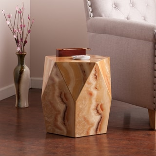 Upton Home Coffey Tan Marble Faux Stone Accent Table
