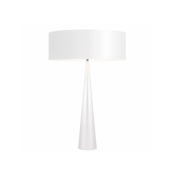 Sonneman Lighting Big Glossy White Table Cone Lamp, White Shade