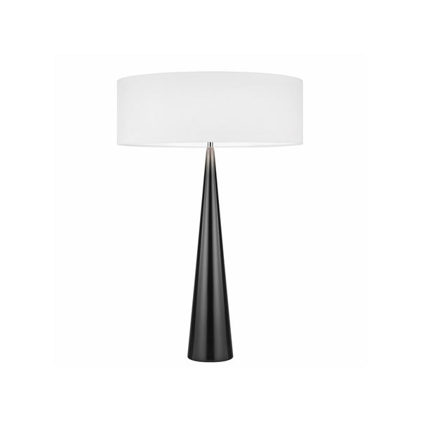 Sonneman Lighting Big Glossy Black Table Cone Lamp, White Shade
