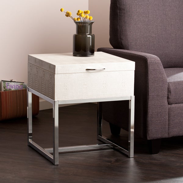 Upton Home Mirren Cream Reptile Storage Side/ End Table