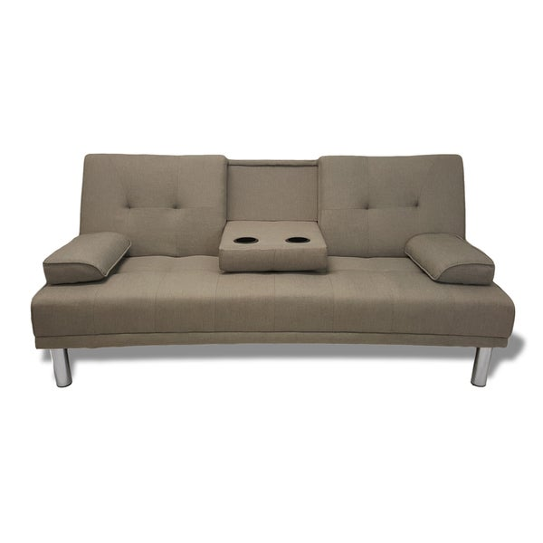 Modern Grey Convertible Sleeper Sofa Futon with Cup Holder
