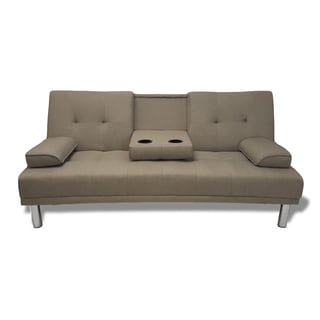 Modern Grey Convertible Sleeper Sofa Futon with Cup Holder