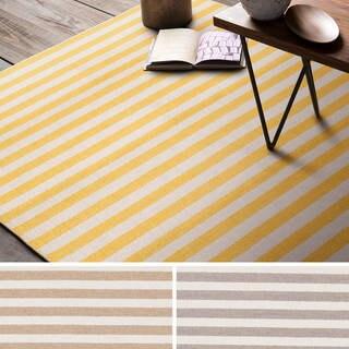 Hand-Woven Leyburn Stripe Indoor Wool Rug (8' x 11')