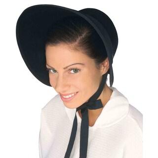 Black Felt Pilgrim Bonnet Hat