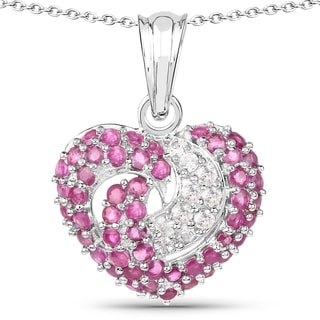Olivia Leone Sterling Silver 3ct Ruby and White Sapphire Heart Pendant