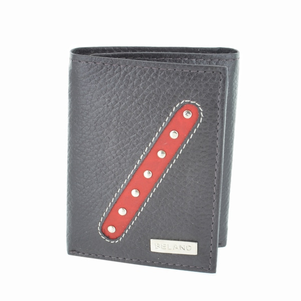 Belano Fashion Men's Brown Leather Trifold Wallet