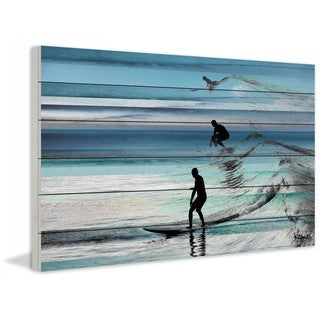 "Parvez Taj - ""Wave Jumping"" Print on White Wood"