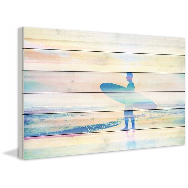 """Parvez Taj - """"Faded Surf"""" Print on White Wood"""