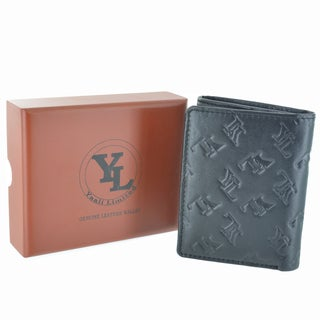 YL Fashion Embossed Logo Men's Leather Black Trifold Wallet