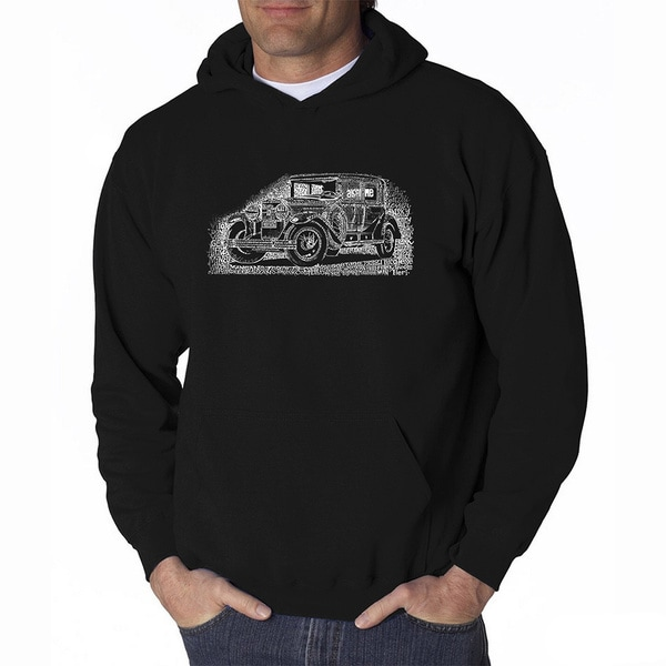 LA Pop Art Men's Mob Car Hooded Sweatshirt