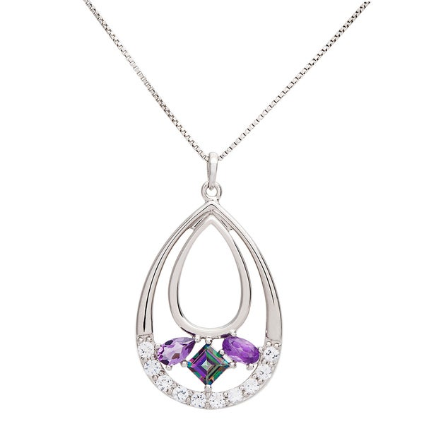 Sterling Silver Multi-gemstone Teardrop Necklace 16001482