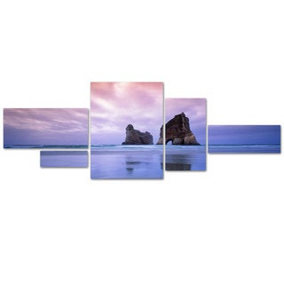 David Evans 'Archway Islands-Wharariki Beach-NZ' 5 Panel Art Set
