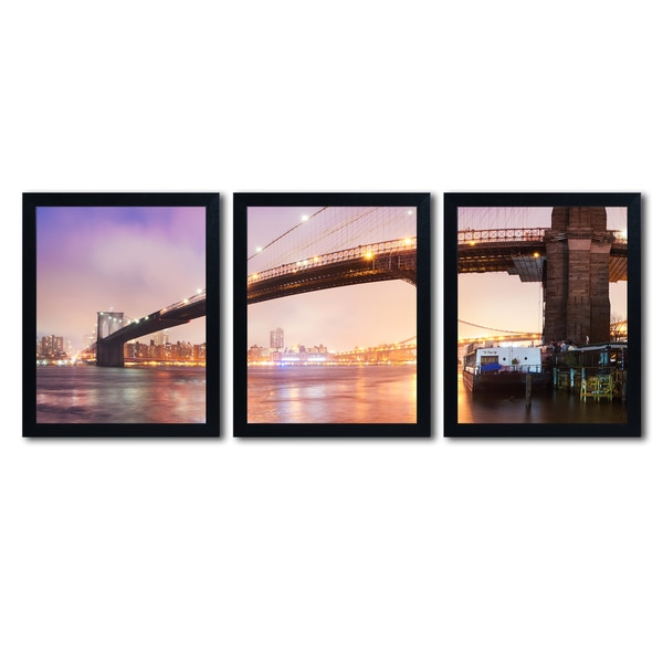 Moises Levy 'Brooklyn Bridge Panoramic 1' Three 16x20 Black Framed Wall Arts Set