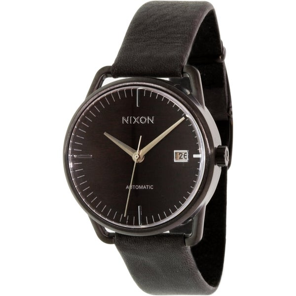 Nixon Men's Mellor A1991107 Black Leather Automatic Watch