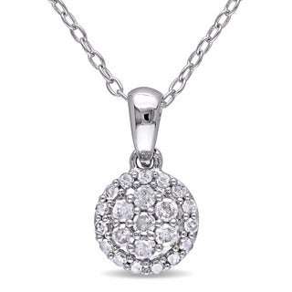Haylee Jewels Sterling Silver 1/4ct TDW Diamond Halo Necklace (H-I, I2-I3)