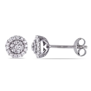 Miadora Sterling Silver 1/4ct TDW Diamond Halo Earrings (H-I, I2-I3)