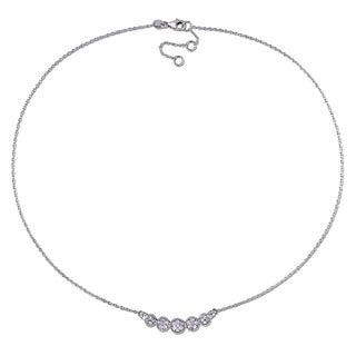 Haylee Jewels Sterling Silver 1/2ct TDW Diamond Halo Necklace (H-I, I2-I3)