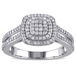 Miadora Sterling Silver 1/2ct TDW Diamond Halo Ring (H-I, I2-I3)