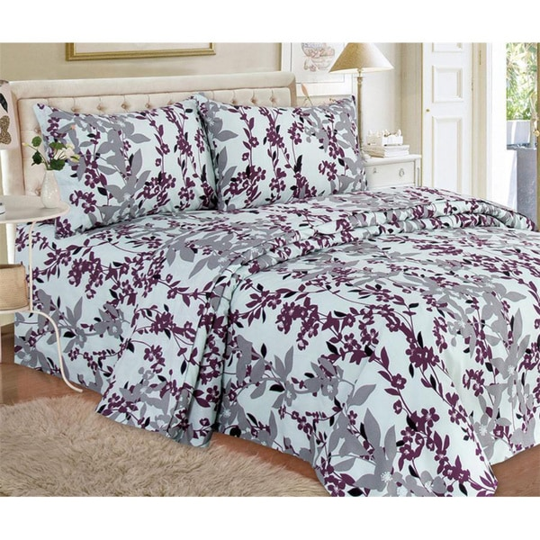 Lilian Floral Printed 1500 Series 4-piece Sheet Set