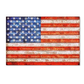 Michelle Calkins 'American States with Flags' Canvas Art