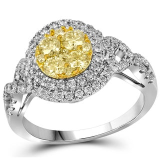 14k Gold 1ct TDW Yellow and White Diamond Ring (G-H, I1-I2)