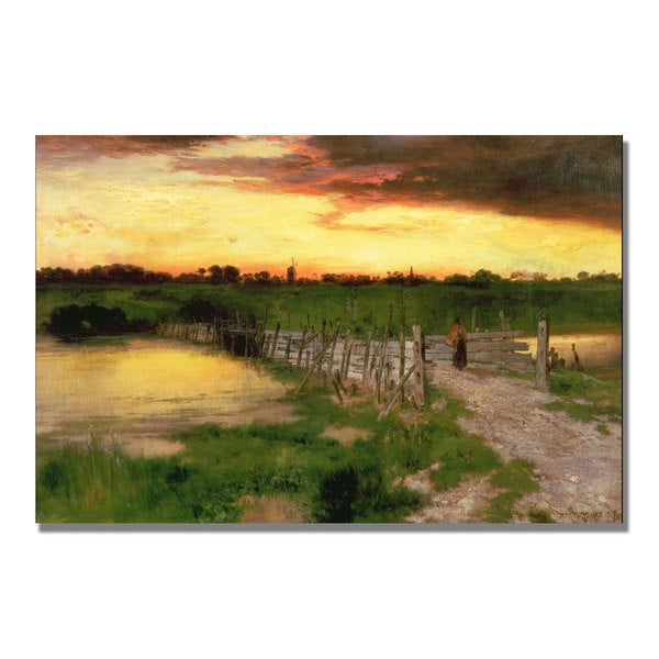 Thomas Moran 'The Old Bridge over Hook Pond' Canvas Art