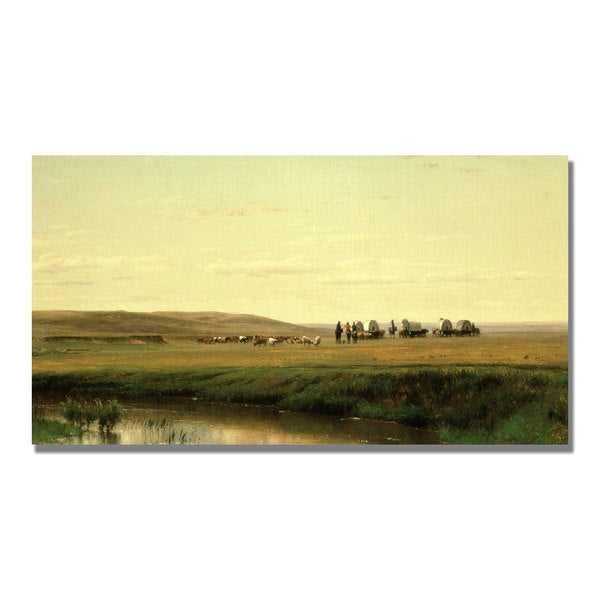 Thomas Ehittredge 'A Wagon Train on the Plain' Canvas Art