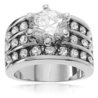 Journee Collection Metal Cubic Zirconia Wide Band Engagement Ring