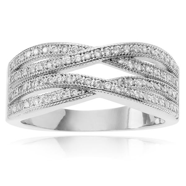 Journee Collection Metal Cubic Zirconia Ring Band