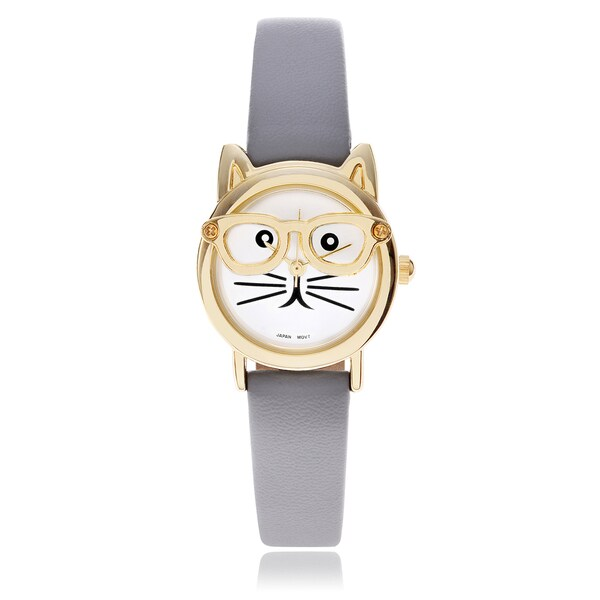 Geneva Platinum Women's Cat Face Leather Strap Watch 16003044