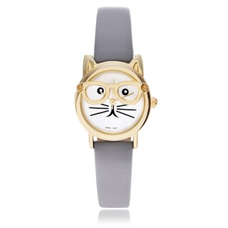 Geneva Platinum Women's Cat Face Leather Strap Watch