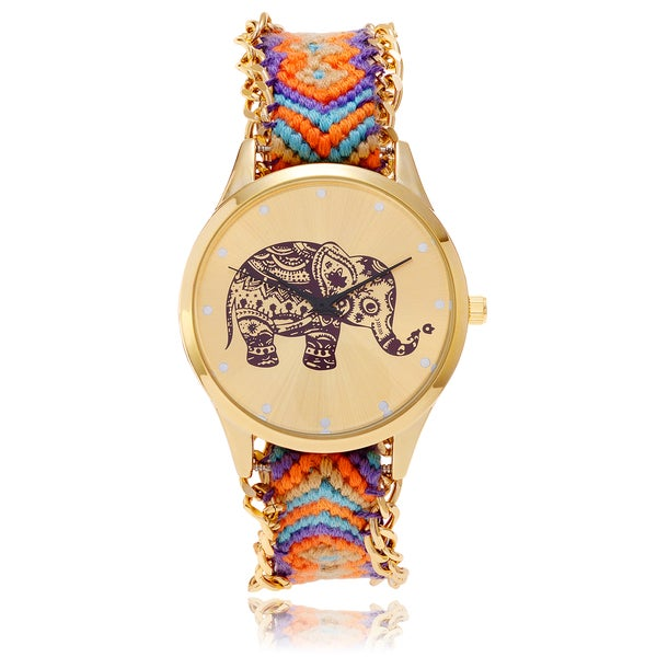 Geneva Platinum Elephant Print Woven Friendship Bracelet Watch