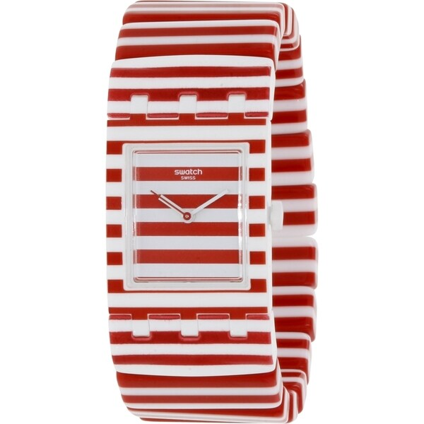Swatch Women's Originals SUBW111B Red/White Plastic Swiss Quartz Watch