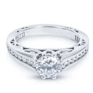Tacori Cut-out Platinum 1/2ct TDW CZ and Diamond Semi-mount Bridal Ring (G-H, VS1-VS2)